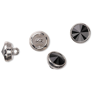 button, swarovski crystals and acrylic, jet and silver, 10mm round. sold per pkg of 144 (1 gross).