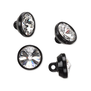 button, swarovski crystals and plastic, crystal clear and black, 12mm round. sold per pkg of 4.
