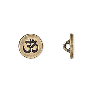 button, tierracast, antique brass-plated pewter (tin-based alloy), 12mm flat round with om symbol and hidden loop. sold individually.