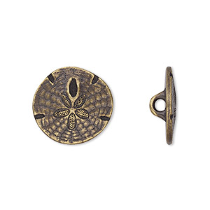 button, tierracast, antique brass-plated pewter (tin-based alloy), 17mm flat round sand dollar with hidden closed loop. sold per pkg of 2.