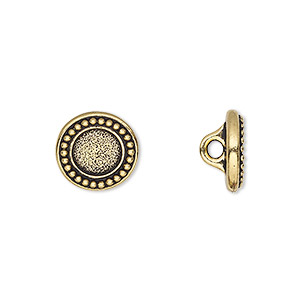 button, tierracast, antique gold-plated pewter (tin-based alloy), 12mm beaded flat round with hidden loop and ss34 round setting. sold individually.