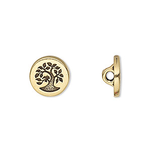 button, tierracast, antique gold-plated pewter (tin-based alloy), 12mm flat round with bird in tree and hidden loop. sold individually.