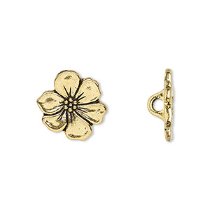 button, tierracast, antique gold-plated pewter (tin-based alloy), 15x14mm flower with hidden loop. sold per pkg of 2.