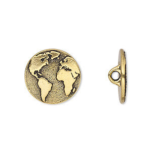 button, tierracast, antique gold-plated pewter (tin-based alloy), 16mm flat round with earth and hidden closed loop. sold per pkg of 2.
