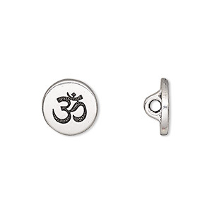 button, tierracast, antique silver-plated pewter (tin-based alloy), 12mm flat round with om symbol and hidden loop. sold individually.