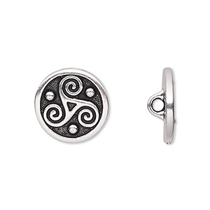 button, tierracast, antique silver-plated pewter (tin-based alloy), 16mm flat round with triskele and hidden closed loop. sold per pkg of 2.