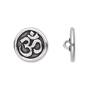 button, tierracast, antique silver-plated pewter (tin-based alloy), 17mm flat round with om symbol and hidden closed loop. sold per pkg of 2.