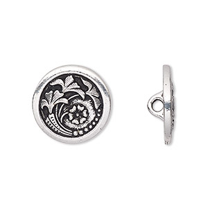 button, tierracast, antique silver-plated pewter (tin-based alloy), 17mm flat round with czech flower and hidden closed loop. sold per pkg of 2.