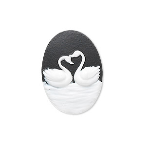 cabochon, acrylic, black and white, 25x18mm non-calibrated oval cameo with swans. sold per pkg of 12.