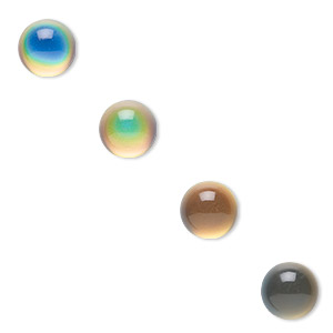 cabochon, acrylic, multicolored, 12mm color-changing non-calibrated round. sold per pkg of 4.