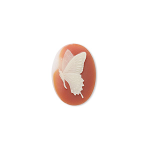 cabochon, acrylic, peach and white, 18x13mm non-calibrated oval cameo with butterfly. sold per pkg of 2.