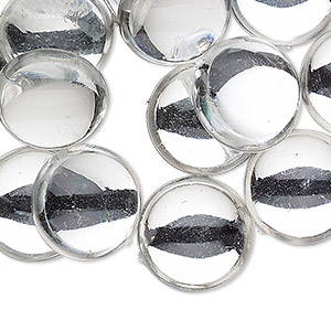 cabochon, acrylic, transparent clear, 14mm non-calibrated round. sold per pkg of 24.