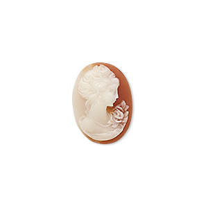 cabochon, acrylic, white and peach, 18x13mm non-calibrated oval cameo with woman and rose. sold individually.