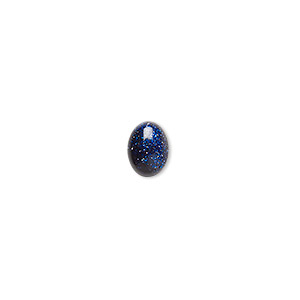cabochon, blue goldstone (man-made), 8x6mm calibrated oval. sold per pkg of 6.