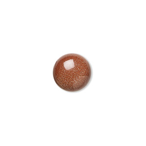 cabochon, brown goldstone (man-made), 10mm calibrated round. sold per pkg of 6.