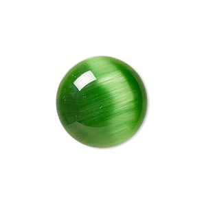 cabochon, cats eye glass, green, 20mm calibrated round, quality grade. sold per pkg of 4.