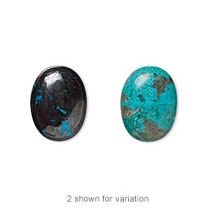 cabochon, chrysocolla (stabilized), 16x12mm calibrated oval, c grade, mohs hardness 2 to 4. sold individually.
