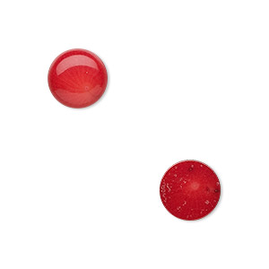 cabochon, coral (dyed), red, 10mm calibrated round, mohs hardness 3-1/2 to 4. sold per pkg of 2.