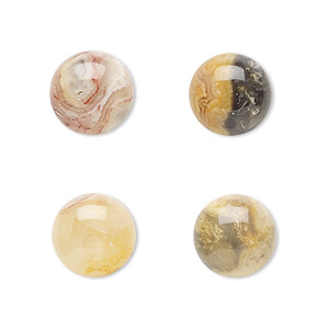 cabochon, crazy lace agate (natural), 12mm calibrated round, b grade, mohs hardness 6-1/2 to 7. sold per pkg of 4.