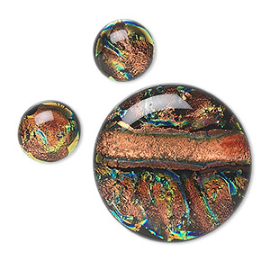 cabochon, dichroic glass, orange and multicolored, 12mm and 30mm non-calibrated round. sold per 3-piece set.