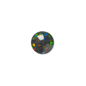 cabochon, gilson, opal (synthetic), mosaic black, 10mm calibrated round. sold individually.