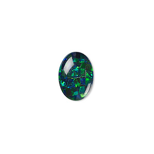 cabochon, gilson, opal (synthetic), mosaic black, 14x10mm calibrated oval. sold individually.