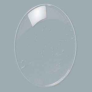 cabochon, glass, transparent clear, 40x30mm non-calibrated oval. sold per pkg of 4.