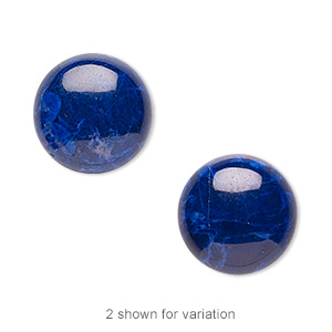 cabochon, howlite (dyed), lapis blue, 16mm calibrated round, b grade, mohs hardness 3 to 3-1/2. sold per pkg of 4.