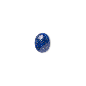 cabochon, lapis lazuli (natural), 10x8mm calibrated oval, b grade, mohs hardness 5 to 6. sold per pkg of 6.