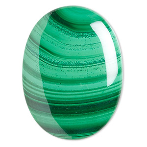 cabochon, malachite (natural), 40x30mm calibrated oval, b grade, mohs hardness 3-1/2 to 4. sold individually.