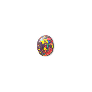 cabochon, mexican opal (man-made), multicolored, 10x8mm calibrated oval. sold individually.