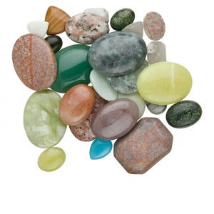 cabochon mix, multi-gemstone (natural / dyed) and glass, mixed colors, 5-37mm mixed shape. sold per 1/2 pound pkg, approximately 45-55 cabochons.