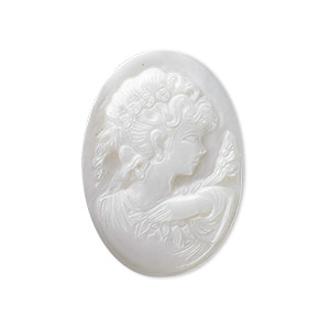 cabochon, mother-of-pearl shell (natural), 30x22mm calibrated carved oval cameo with woman, mohs hardness 3-1/2. sold individually.
