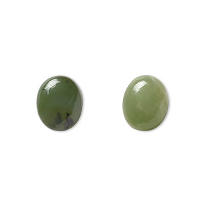 cabochon, nephrite jade (natural), 12x10mm calibrated oval, b grade, mohs hardness 6 to 6-1/2. sold per pkg of 2.