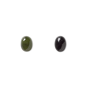 cabochon, nephrite jade (natural), 8x6mm calibrated oval, b grade, mohs hardness 6 to 6-1/2. sold per pkg of 2.
