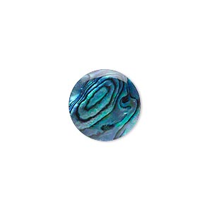 cabochon, paua shell (coated / dyed), blue, 15mm calibrated round, mohs hardness 3-1/2. sold per pkg of 4.