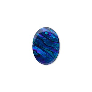 cabochon, paua shell (coated / dyed), blue, 18x13mm calibrated oval, mohs hardness 3-1/2. sold per pkg of 4.