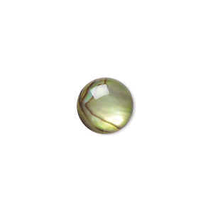 cabochon, paua shell (coated / dyed), gold, 10mm calibrated round, mohs hardness 3-1/2. sold per pkg of 6.