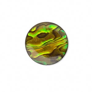 cabochon, paua shell (coated / dyed), gold, 20mm calibrated round, mohs hardness 3-1/2. sold per pkg of 2.