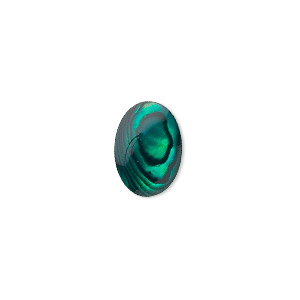 cabochon, paua shell (coated / dyed), green, 14x10mm calibrated oval, mohs hardness 3-1/2. sold per pkg of 6.