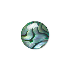 cabochon, paua shell (coated / dyed), green, 15mm calibrated round, mohs hardness 3-1/2. sold per pkg of 4.