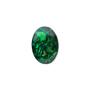 cabochon, paua shell (coated / dyed), green, 18x13mm calibrated oval, mohs hardness 3-1/2. sold per pkg of 4.