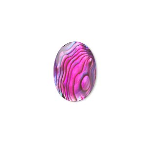cabochon, paua shell (coated / dyed), pink, 18x13mm calibrated oval, mohs hardness 3-1/2. sold per pkg of 4.