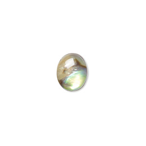 cabochon, paua shell (coated), 10x8mm calibrated oval, mohs hardness 3-1/2. sold per pkg of 6.