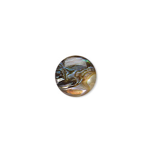 cabochon, paua shell (coated), 12mm calibrated round, mohs hardness 3-1/2. sold per pkg of 4.