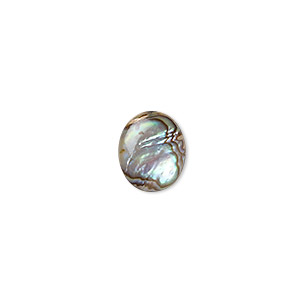 cabochon, paua shell (coated), 12x10mm calibrated oval, mohs hardness 3-1/2. sold per pkg of 6.