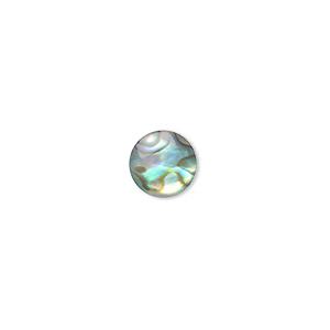cabochon, paua shell (coated), 8mm calibrated round, mohs hardness 3-1/2. sold per pkg of 6.