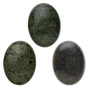 cabochon, russian serpentine (natural), 30x22mm calibrated oval, b grade, mohs hardness 2-1/2 to 5. sold per pkg of 2.