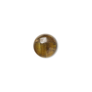 cabochon, tigereye (natural), 10mm calibrated round, b grade, mohs hardness 7. sold per pkg of 10.