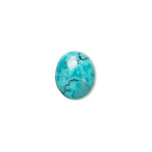 cabochon, turquoise (dyed / stabilized), 12x10mm calibrated oval, b grade, mohs hardness 5 to 6. sold per pkg of 2.